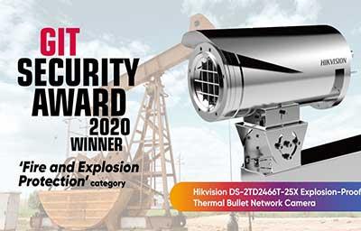 دوربین هوشمند حرارتی ضد انفجار هایک ویژن برنده ی جایزه ی git security در سال 2020 شد